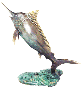 bronze blue marlin sculpture