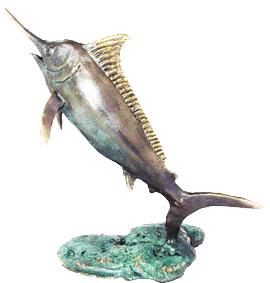 bronze blue marlin sculpture