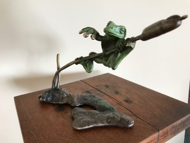 Green tree frog relaxing